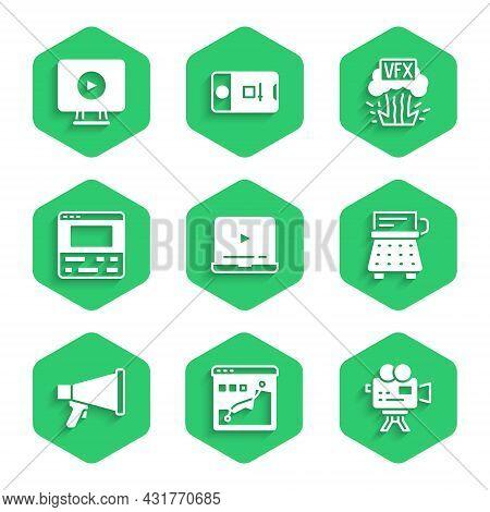 Set Online Play Video, Histogram Graph Photography, Retro Cinema Camera, Typewriter, Megaphone, Vide