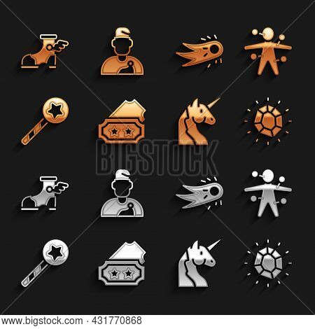 Set Ticket, Voodoo Doll, Magic Stone, Unicorn, Wand, Fireball, Hermes Sandal And Wizard Warlock Icon