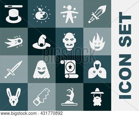Set Wizard Warlock, Mantle, Cloak, Cape, Fire Flame, Voodoo Doll, Witch Hat, Fireball, Magic And Wan
