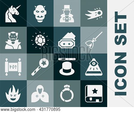 Set Ancient Magic Book, Masons, Witches Broom, Magician, Stone, Vampire, Unicorn And Ticket Icon. Ve