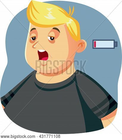 Funny Exhausted Overweight Man Vector Illustration Character