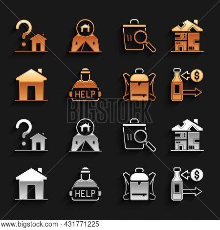 Set Help Homeless, Homeless Cardboard House, Reception Of Glass Bottles, Hiking Backpack, Real Estat