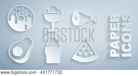 Set Chicken Egg On Stand, Leg, Avocado Fruit, Watermelon, Ice Cream In The Bowl And Donut Icon. Vect