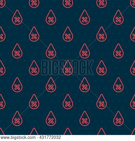 Red Line Water Drop Percentage Icon Isolated Seamless Pattern On Black Background. Humidity Analysis