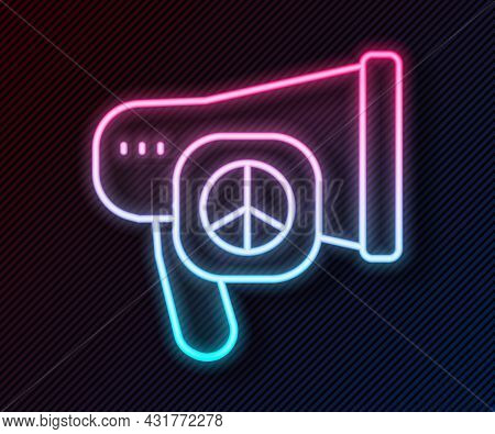Glowing Neon Line Peace Icon Isolated On Black Background. Hippie Symbol Of Peace. Vector