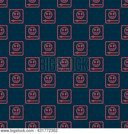 Red Line Music Player Icon Isolated Seamless Pattern On Black Background. Portable Music Device. Vec