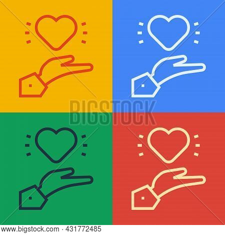 Pop Art Line Pleasant Relationship Icon Isolated On Color Background. Romantic Relationship Or Pleas