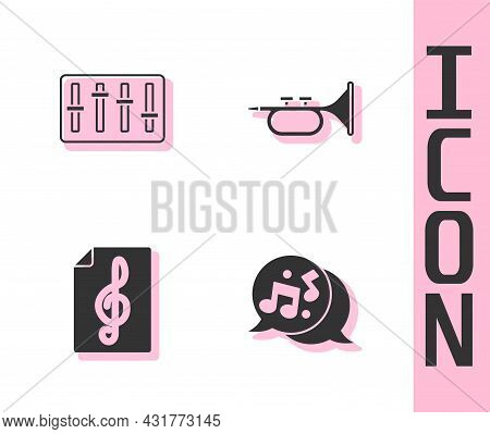 Set Music Note, Tone, Sound Mixer Controller, Treble Clef And Trumpet Icon. Vector