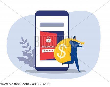 Unlock Password, Hacker Carrying Bag With Cash From Unlock Phone Flat Vector Illustration.