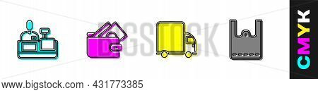 Set Cashier At Cash Register, Wallet With Money, Delivery Cargo Truck And Paper Shopping Bag Icon. V