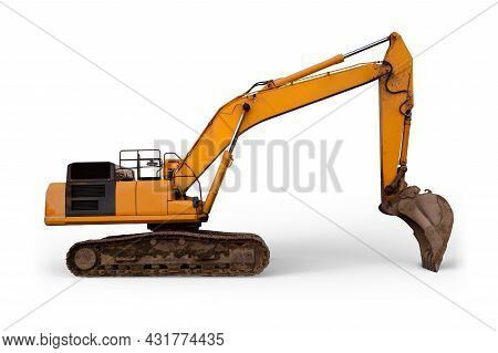 Excavator Construction Site Earth Mover Heavy Digger Shovel Yellow Equipment Isolated On White Backg