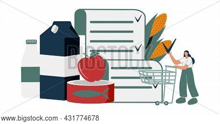 Healthy Foods List Vector Illustration. Nutrition Products. Full Shopping Cart And Flat Tiny Person