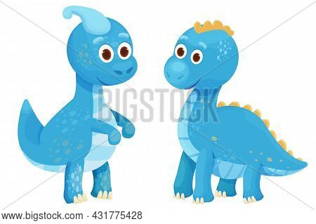 Dinosaurs Set, Baby Animal Fantasy Fossil Animal In Cartoon Style Isolated On White Background. Cute