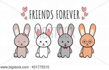 Cute Rabbit Bunny Friends Forever Wallpaper Icon Cartoon Illustration Design Isolated Flat Cartoon S