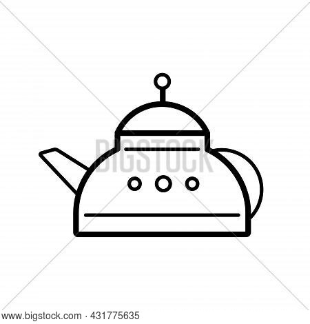 Teapot For Green Or Black Tea. Tea Healthy Drink. Vector Illustration In A Trendy Linear Style, Icon