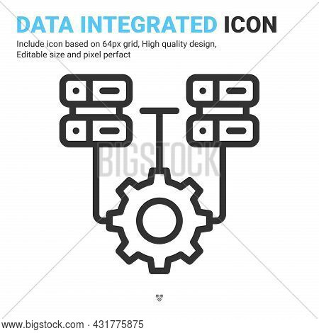 Data Integrated Icon Vector With Outline Style Isolated On White Background. Vector Illustration Dat
