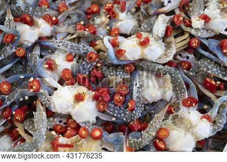 Marinated Tropical Sea Crabs With Red Hot Cayenne Pepper.