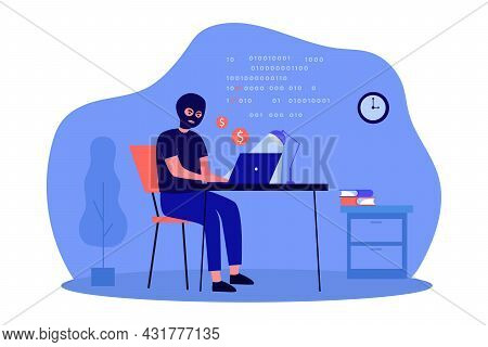 Hacker Making Illegal Profit By Writing Programs And Codes. Flat Vector Illustration. Computer Crack