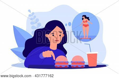 Girl Worrying About Her Appearance, Eating Fast Food. Flat Vector Illustration. Cartoon Woman Lookin