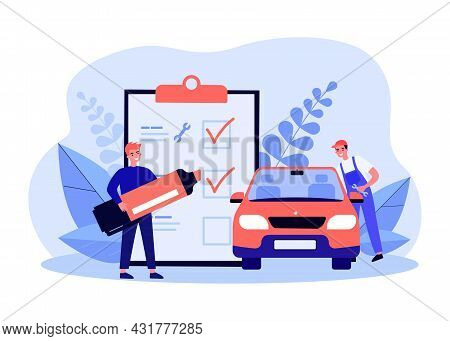 Car Technical Inspection Flat Vector Illustration. Cartoon Employee Repairing Or Inspecting Car Whil