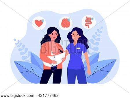 Midwife And Young Mother Breastfeeding Her Baby. Flat Vector Illustration. Newborn Tested For Health