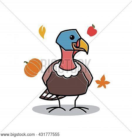 Turkey Bird Female Standing Autumn Fruit Fall Thanksgiving Character Cartoon