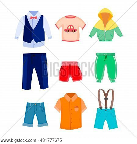 Casual And Formal Clothes For Boys Vector Illustrations Set. Jacket, Shirts, Pants, Shorts For Male