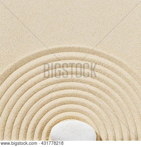 Aesthetic Minimal Background With Zen Stones On Sand. Pattern In Japanese Zen Garden With Concentric