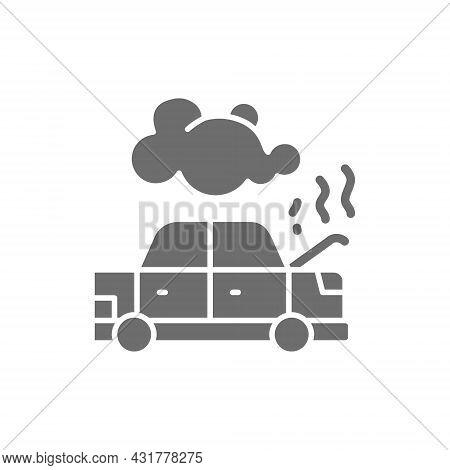 Car Broke Down, Automobile Smoking Under Hood, Accident Grey Icon.
