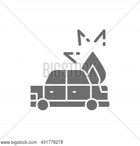 Fire Under Hood Of Car, Automobile Broke Down, Accident Grey Icon.