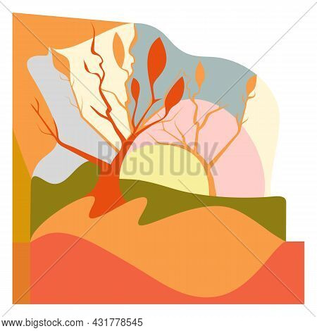 Abstract Natural Wall Vector Art Background. Abstract Design For Wall Art, Canvas Prints, Posters, H
