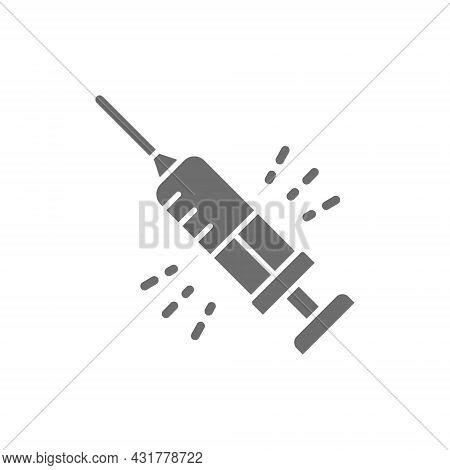 Insulin Syringe, Medical Needle Grey Icon. Isolated On White Background