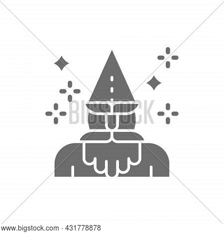 Wizard, Magus, Magician, Thaumaturge Grey Icon. Isolated On White Background