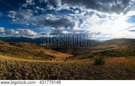 Kurai steppe and North-Chui ridge on background. Altai mountains, Russia.