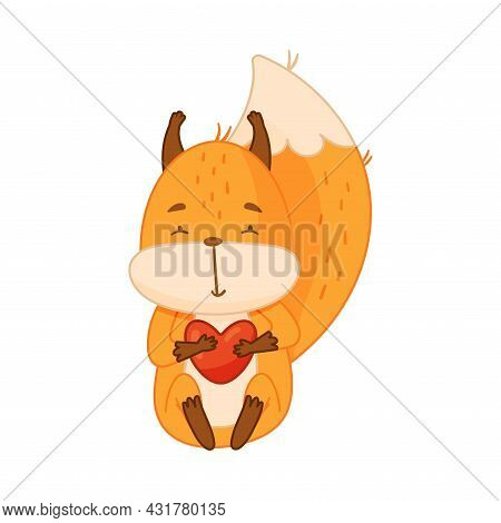 Funny Orange Squirrel Character With Bushy Tail Sitting With Heart In Its Paws Vector Illustration