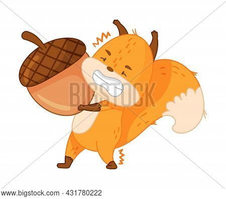 Funny Orange Squirrel Character With Bushy Tail Lifting Heavy Acorn With Great Effort Vector Illustr