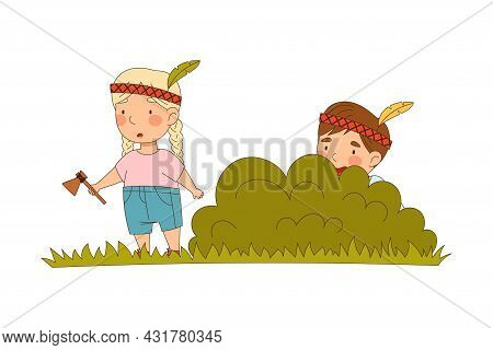 Smiling Little Boy And Girl Enjoying Summer Playing Indian Hiding And Seeking Vector Illustration