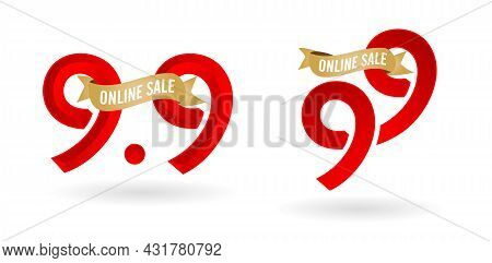 9.9 Mega Sale, 9.9 Online Sale, With Gradient Red And Golden Ribbon Applicable Poster Or Flyer Desig