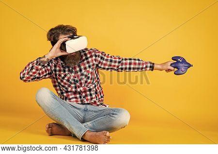Virtual Work. Man With Glasses Of Virtual Reality. Digital Future And Innovation. Digitalization. Ga