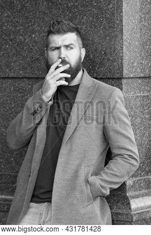 Male Bad Habits. Addiction. Casual Fashion In Modern Life. Confident And Handsome Brutal Man. Smoke.
