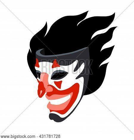 A Smiling Joker Mask With A Flame, The Concept Of A Stand-up Comedian And Black Humor, A Color Vecto