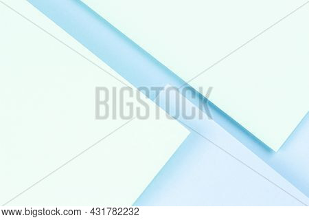 Abstract Colored Paper Texture Background. Minimal Geometric Shapes And Lines In Pastel Green And Li