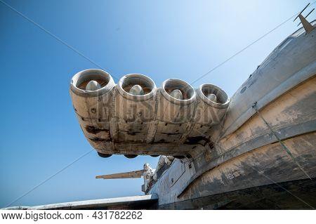 Derbent, Russia-august 30, 2021: Rocket Ship-ekranoplan Lun On The Shore Of The Caspian Sea, A Close