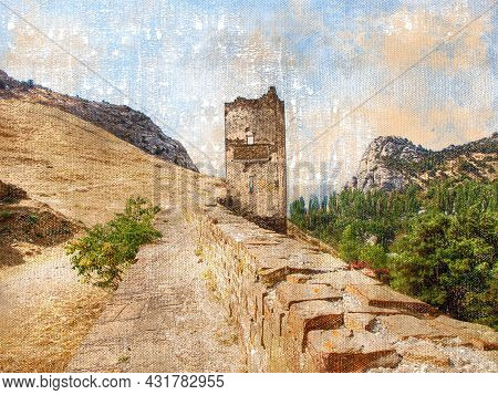 An Old Ruined Fortress Wall Against A Background Of Mountains And Sky. Destroyed County Wall With A