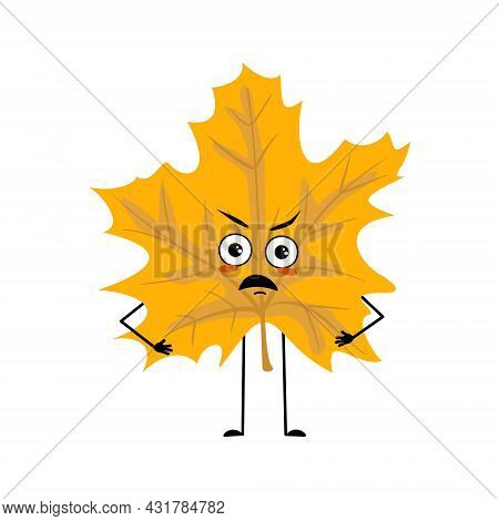 Maple Leaf Character With Angry Emotions, Grumpy Face, Furious Eyes, Arms And Legs. Forest Plant In