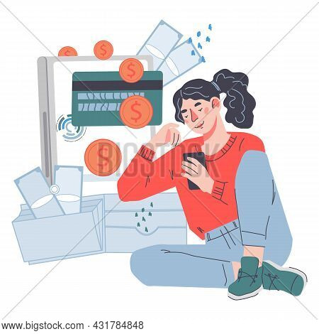 Online Payment Or Passive Income Concept With Woman Getting Or Trsansfering Money Through Internet A
