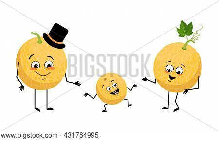 Family Of Cute Melon Characters With Joyful Emotions, Smile Face, Happy Eyes, Arms And Legs. Mom Is