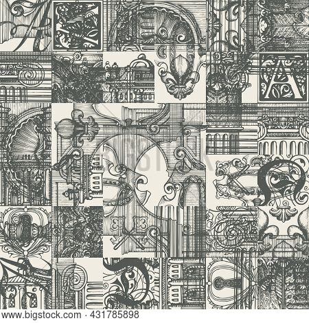 Abstract Seamless Pattern With Hand-drawn Vintage Architectural Fragments. Creative Vector Backgroun