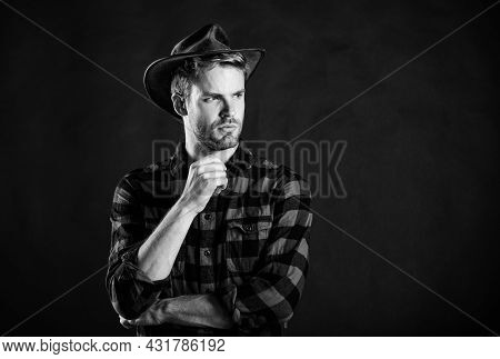 Archetypal Image Of Americans Abroad. Cowboy Life Came To Be Highly Romanticized. Man Unshaven Cowbo