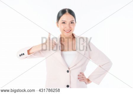 Portrait Beautiful Working Asian Woman , Business Girl Shows Ok Sign Giving A Thumb Up Like Hands, S